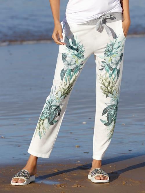 Jog nohavice vpredu s kvetinovým vzorom