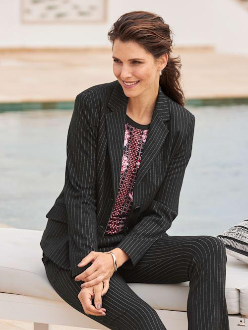 Jersey blazer met fijne krijtstrepen