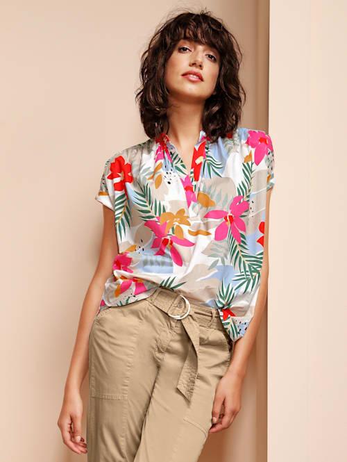 Bluse im Blumendruck