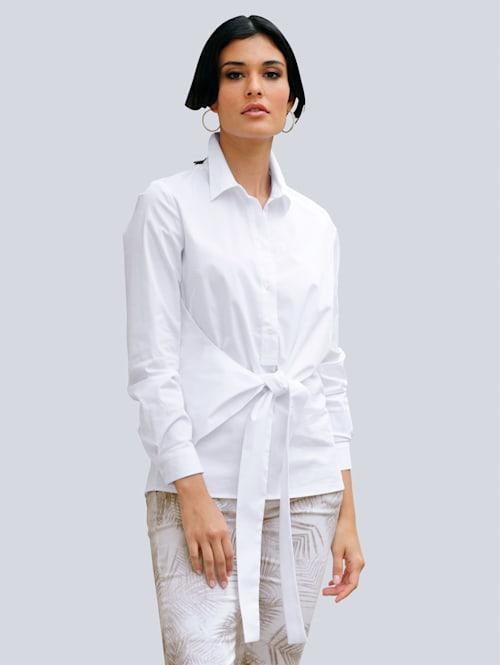 Bluse mit effektvoller Knoten-Wickel-Optik