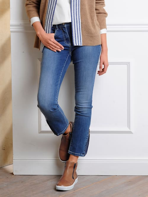 Jeans mit Strass-Steinchenapplikation am Saumabschluss