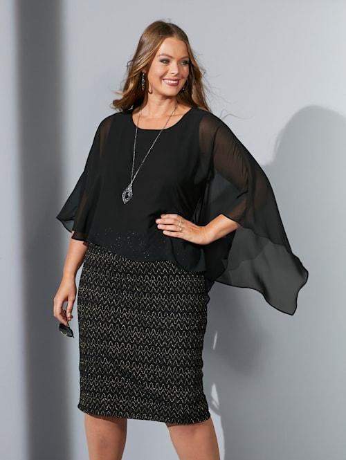 Kleid mit festem Chiffon-Überwurf
