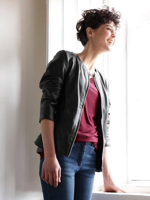 Lederimitat-Jacke mit leichtem Stehkragen