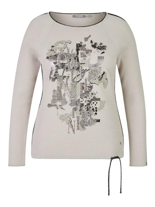 Pullover in Uni-Design mit Glitzerdetails