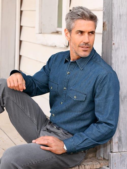 Džínsová košeľa s náprsnými vreckami