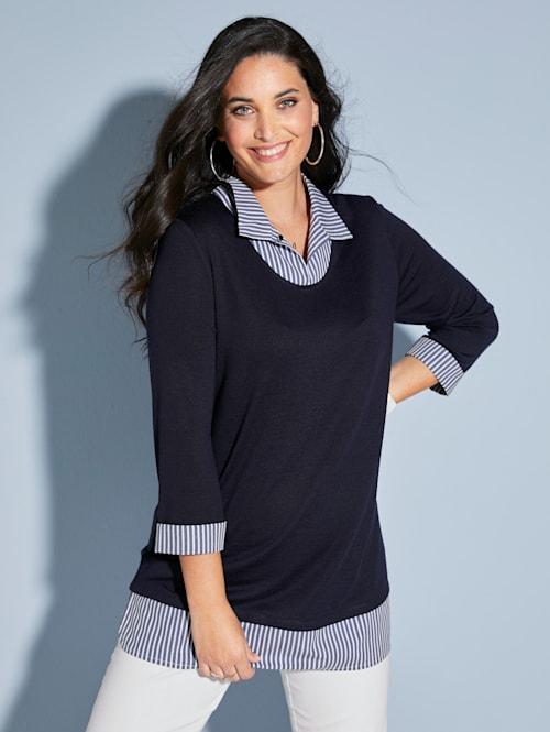 Tričko s tkanou vsadkou na límci a ukončení