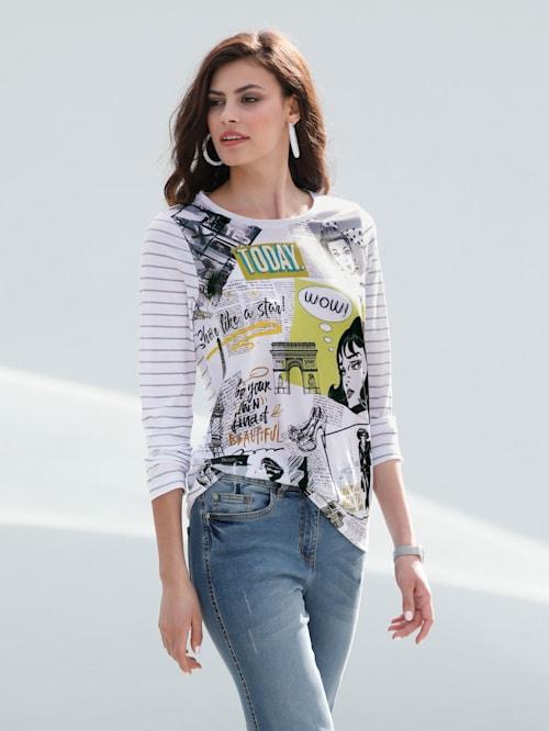 Shirt mit bedrucktem Vorderteil und im Streifendessin