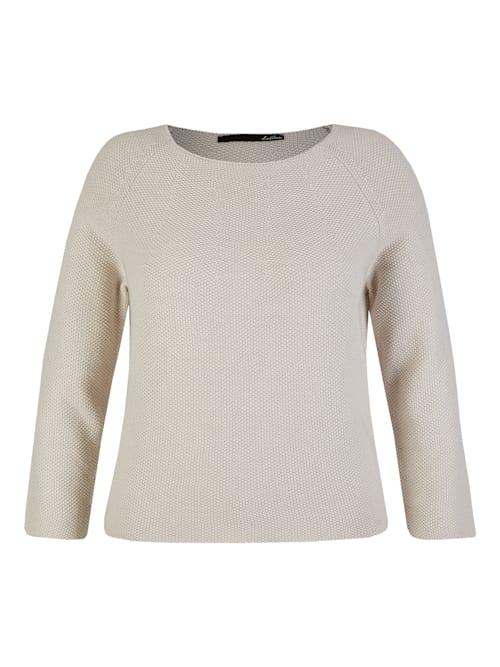 Pullover mit unifarbenem Stoff und Rundhalsausschnitt