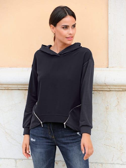 Sweatshirt met zipperdetails
