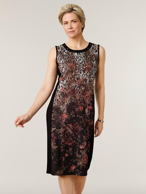 Jersey jurk met paillettenversiering langs de hals