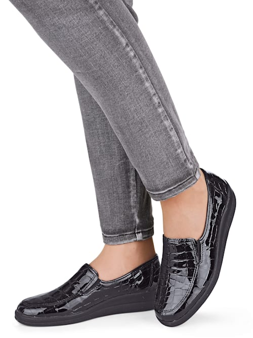 Loafers with elasticated side panels for ease and comfort