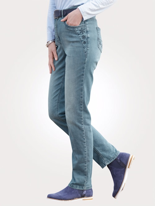 Jeans met modieuze used wassing
