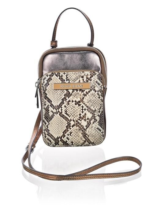 Tasche in metallischem Snake-Dessin