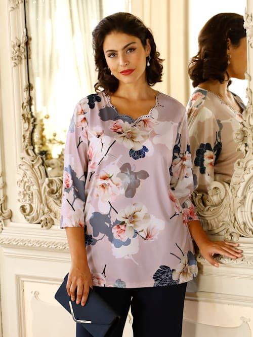 Shirt met mooie hals en bloemenprint