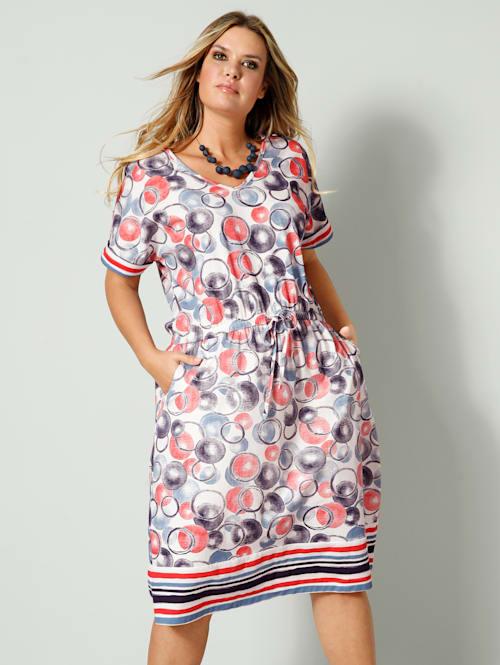 Jerseykleid mit elastischer Taille mit Bindeband
