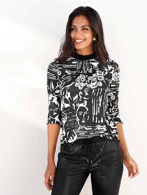 Stehbundshirt mit Scribble-Druck