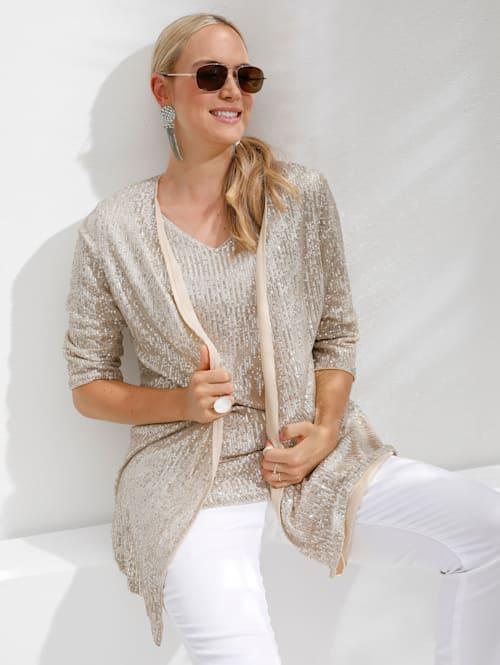 Tričkový kabátek s třpytivými pajetkami