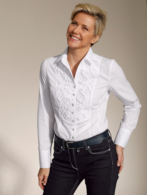Bluse mit dekorativen Applikationen