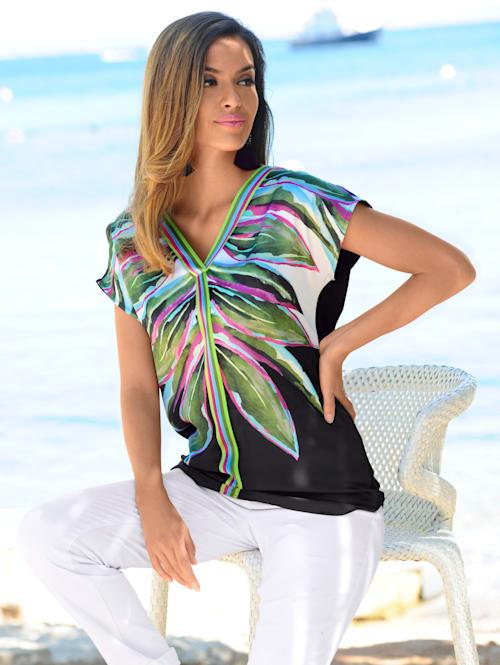 Strandshirt mit Vorderteil aus Satin