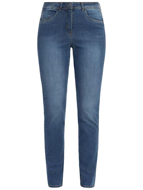 Jeans mit Metallic-Paspel