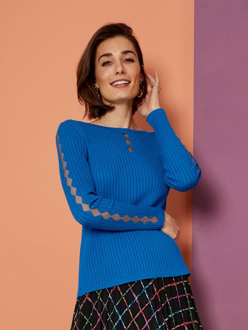 Pullover mit transparentem Netzeinsatz