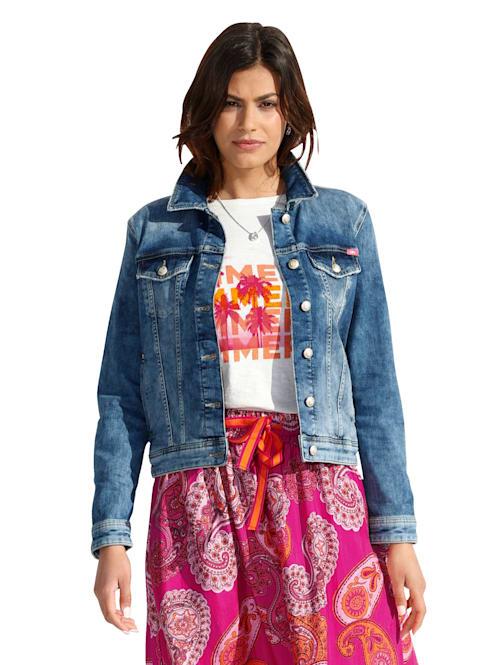 Jeansjacke mit Druck und Stickerei im Rückenteil