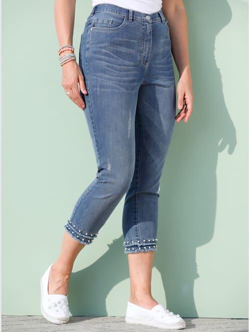 7/8-jeans met sierkraaltjes en korte franjes aan de zoom