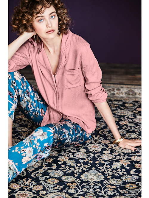 Pyjama-Bluse Mit Jacquardmuster
