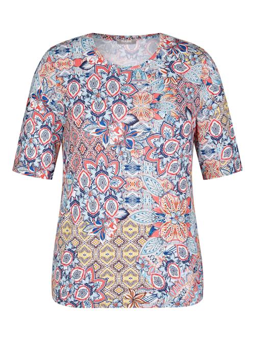Shirt mit buntem Muster und Rundhals