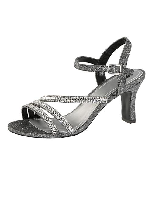 Sandalette mit eleganter Steinchenzier
