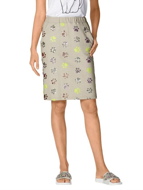 Jersey rok met pootjesdessin van gekleurde pailletten