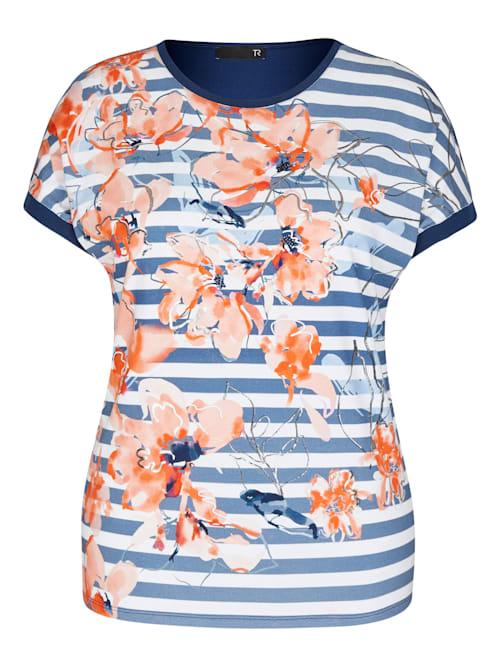 Shirt mit geblümtem Front-Print und Strass-Steinen