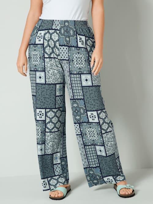 Žerzej kalhoty s celoplošným grafickým vzorem
