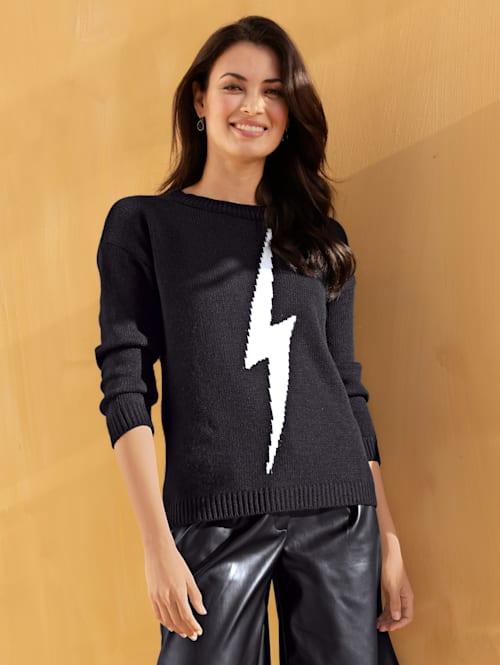 Pullover mit Blitz in Kontrastfarbe
