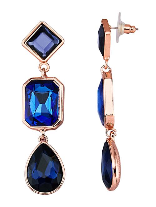 Ohrringe mit blauen Glassteinen