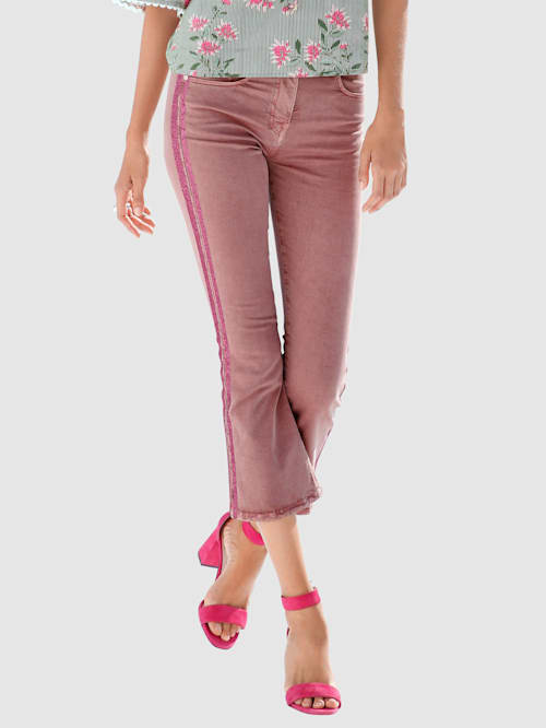 7/8-jeans met galonstrepen