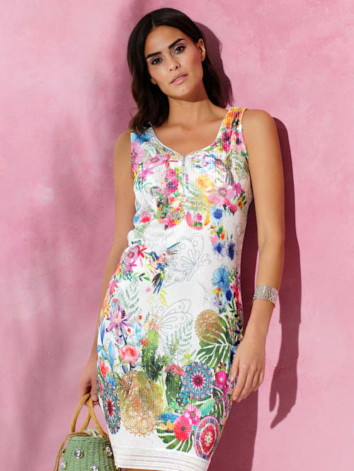 Jerseyklänning med tryckt blommönster runtom