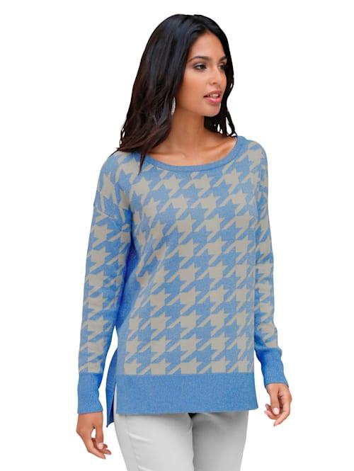Pullover mit Glanzgarn und Hahnentrittmuster