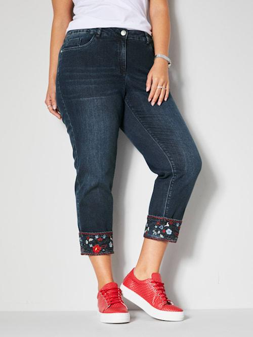7/8 Slim Fit Jeans mit Stickerei