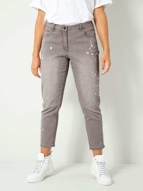 Jeans met print in verfspattenlook