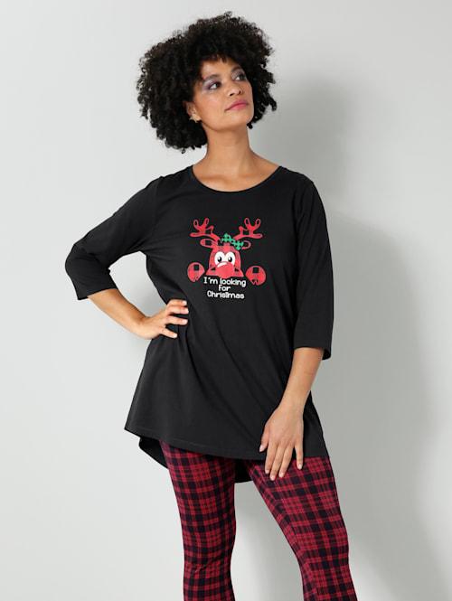 Shirt met kerstmotief