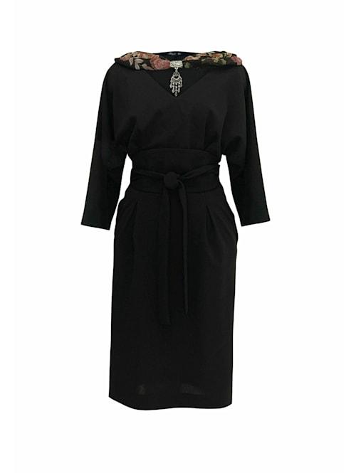 Abendkleid Midikleid mit V-Ausschnitt und Gürtel
