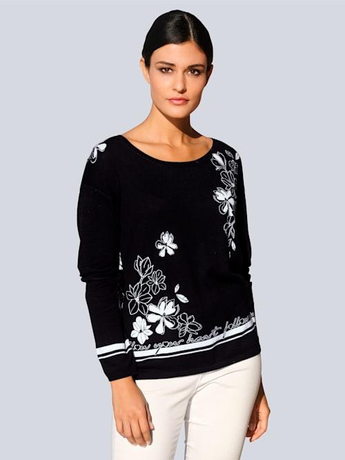 Kukkakuosinen neulepusero