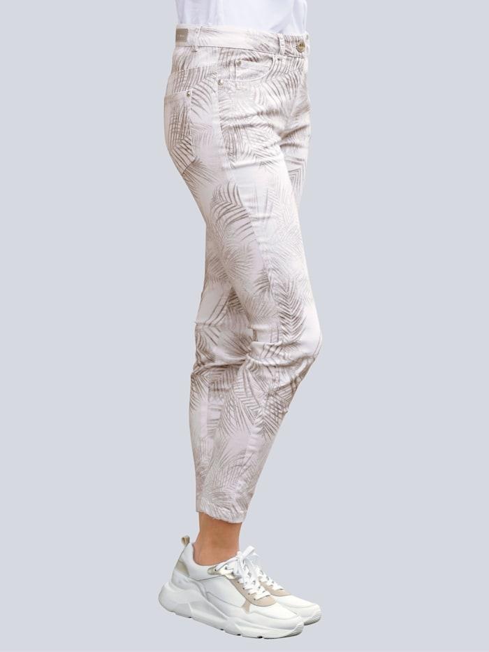 Alba Moda Pantalon à imprimé de feuilles actuel, Noisette/Marron/Blanc