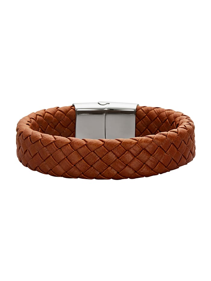 Magnetic Balance Leder-Armband mit Edelstahl, Braun