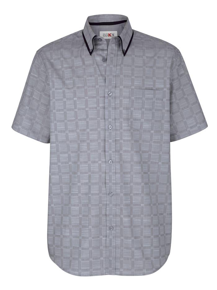 Roger Kent Overhemd met ingeweven ruitpatroon, Grijs/Zwart