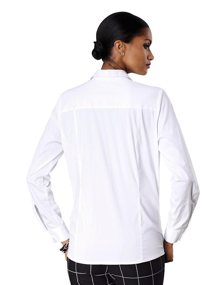 Overhemdblouse van mooi stretchmateriaal met fijne glans