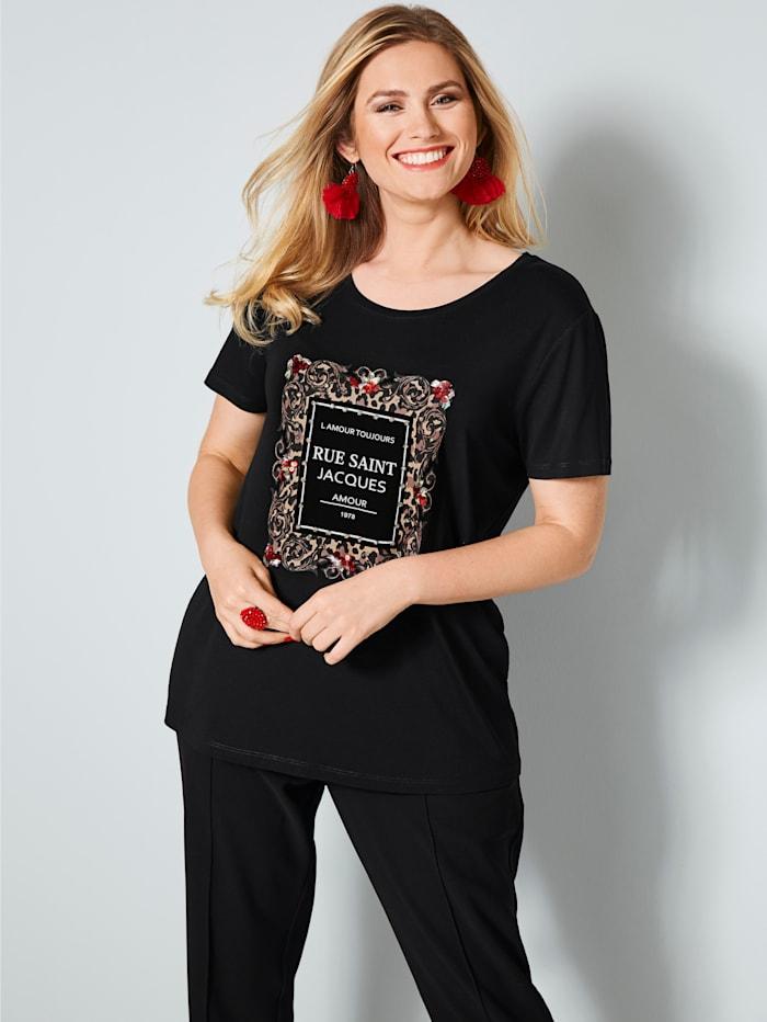 Sara Lindholm Shirt mit Strasssteinen, Schwarz