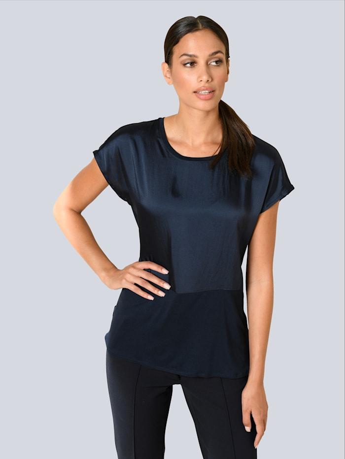 Alba Moda Shirt im Materialmix, Dunkelblau