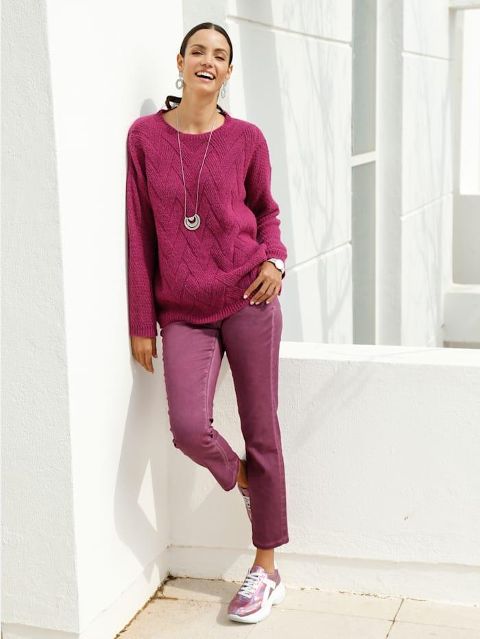 AMY VERMONT Pullover in Flecht-Optik, Pink